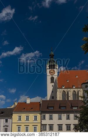 Old Historic Church And Houses In Krems An Der Donau In Summer Austia