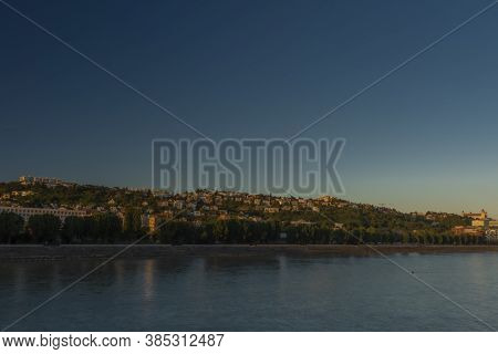 Bratislava Capital In Summer Evening With Color Sunset And River Donau