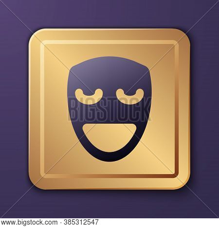 Purple Comedy Theatrical Mask Icon Isolated On Purple Background. Gold Square Button. Vector