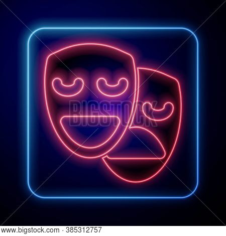 Glowing Neon Comedy And Tragedy Theatrical Masks Icon Isolated On Blue Background. Vector