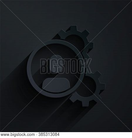 Paper Cut Head Hunting Icon Isolated On Black Background. Business Target Or Employment Sign. Human