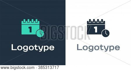 Logotype Calendar With First September Date Icon Isolated On White Background. September 1. Date And