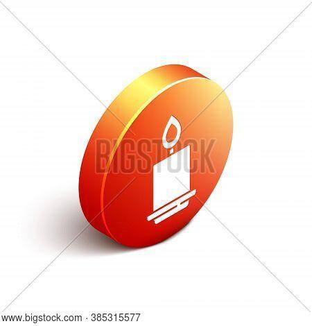 Isometric Burning Candle Icon Isolated On White Background. Cylindrical Aromatic Candle Stick With B
