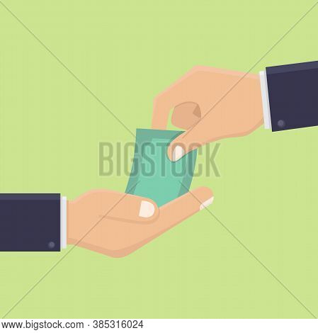 Give Money Concepts, Businessmen Give Money To Other Business People, Hand Holding Money, Illustrati