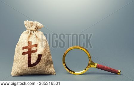 Turkish Lira Money Bag And Magnifying Glass. Find High-paying Job. Most Favorable Conditions For Dep