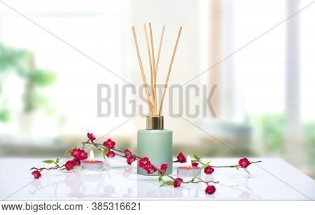 Air Freshener,liquid Home Fragrance In Aroma Sticks  On Table Decorated With Flowers.house Scent,aro