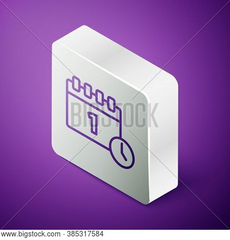 Isometric Line Calendar With First September Date Icon Isolated On Purple Background. September 1. D
