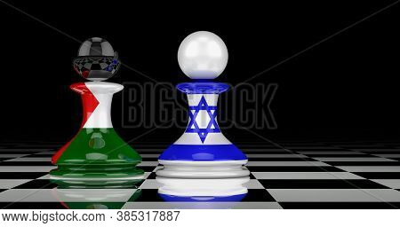 Israel And Palestine Confrontation And Relations Concept. 3d Rendering