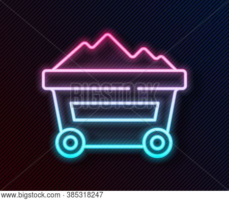 Glowing Neon Line Coal Mine Trolley Icon Isolated On Black Background. Factory Coal Mine Trolley. Ve