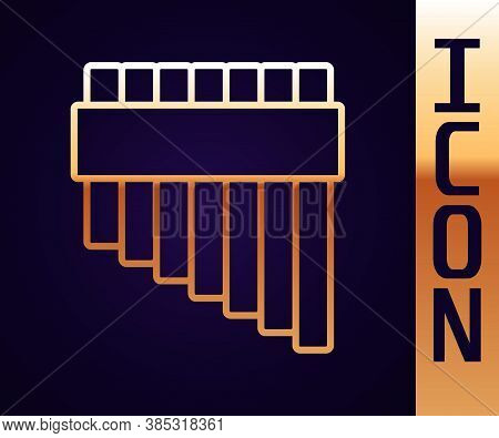Gold Line Pan Flute Icon Isolated On Black Background. Traditional Peruvian Musical Instrument. Zamp