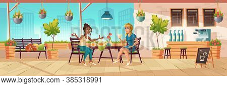 Girls Seating On Cafe Terrace Or Balcony With Wooden Bar Counter And Plants. Vector Cartoon Interior