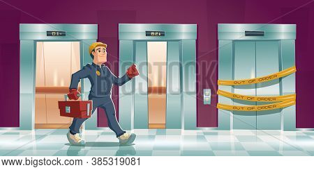 Repair Man And Out Of Order Elevator With Yellow Stripes In House Or Office Hallway. Vector Cartoon