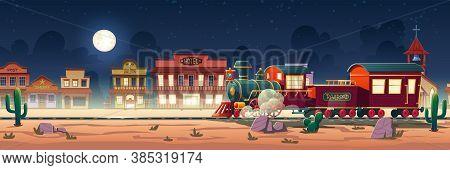 Wild West Steam Train At Night Western Town With Railroad, Vintage Locomotive, Desert Landscape, Cac