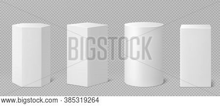 Pedestals Or Podium, Abstract Geometric Empty Museum Stages, Exhibit Displays For Award Ceremony Or