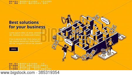Best Business Solutions Isometric Landing Page, Businessman Looking For Way To Solve Problem Through