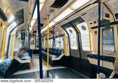 London, England, Uk - 10 September 2020: Empty Metropolitan Train Tube And Seats During Coronavirus