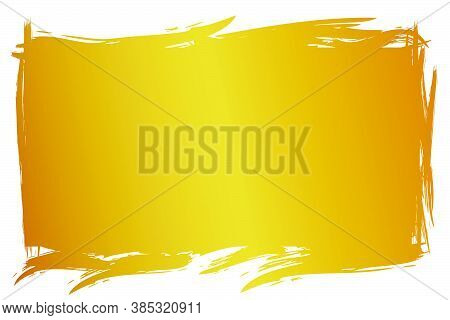 Hand Draw Streak Sketch Golden Rectangle Frame For Your Element Design, Isolated On White