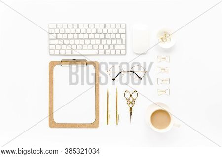 Home Office Workspace With Computer, Clipboard, Laptop And Golden Accessories On White Background. F
