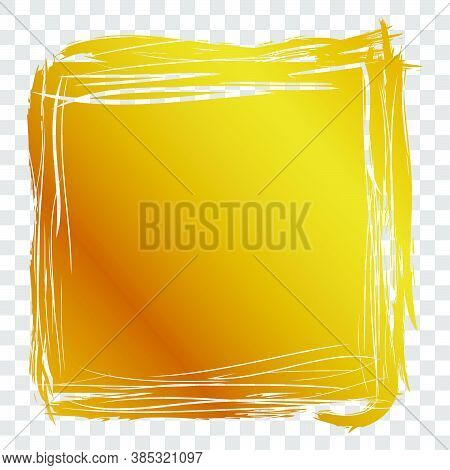 Hand Draw Streak Sketch Golden Square Frame For Your Element Design, Transparent Effect Background
