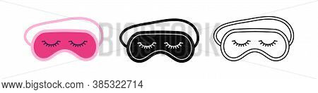 Sleep Beauty Masks With Eyelashes Icon Set. Eye Protection Wear Accessory Collection. Relaxation Bli
