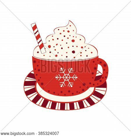 Hot Cocoa Mug Whipped Cream Flat Vector Icon. Winter Hot Chocolate Cup Marshmallow Cartoon. Cute Han