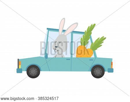 Colored Kids Transport With Cute Little Bunny, Rabbit Or Hare. Animal Driving Car. Cartoon Animal Dr