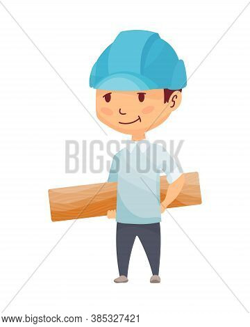 Kid Builder. Little Worker In Helmet. Children With Construction Wooden Board, Making Job. Working B