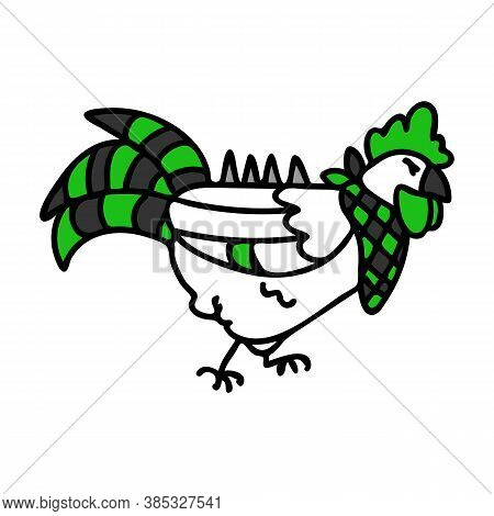 Punk Rock Cockerel Chicken Vector Illustration Clipart. Simple Alternative Sticker. Kids Emo Rocker