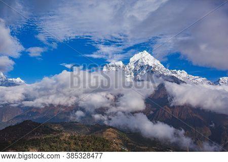 View From Mount Near Khunde Village. Nepal, Sagarmatha National Park