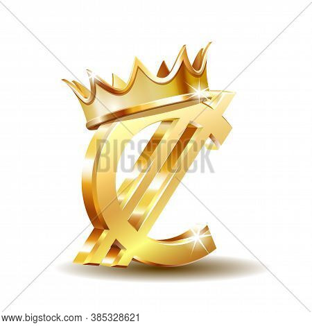 Costa Rican And Salvadoran Colon Currency Symbol With Golden Crown