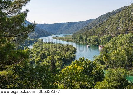 Landscape Of The River Krka With The Courts Sunny Day. Krka National Park, Croatia.