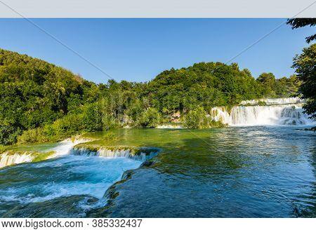 Cascading Waterfalls Skradinski Buk. Krka National Park, Croatia.
