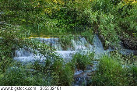 Threshold On The Creek In The Park Krka. Krka National Park, Croatia.