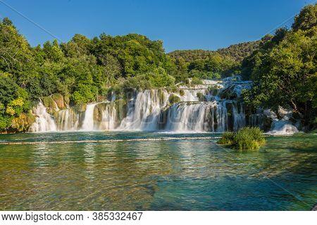 Cascade Of Waterfalls Skradinski Buk On A Sunny Day. Krka National Park, Croatia.