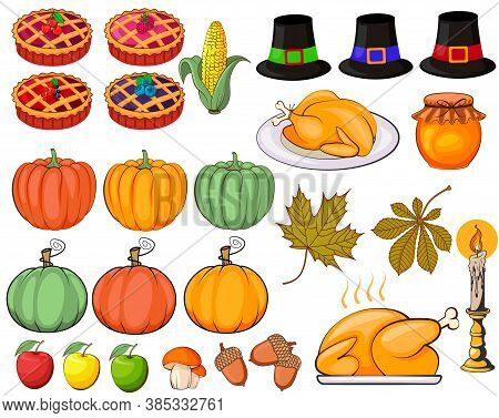 Thanksgiving Symbols. Thanksgiving Clipart Fat Vector. Autumn, Fall And Thanksgiving Elements.