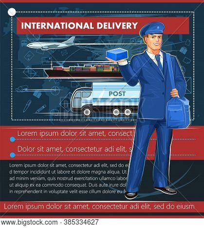 Postal International Delivery. Vector Illustration. Typical Postman With A Bag And A Parcel On The B