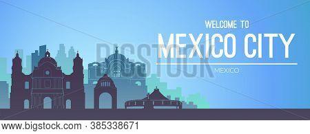 Mexico City Famous City Scape View Background.