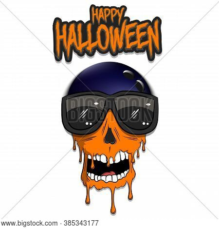 Happy Halloween. Bowling Ball With Skull In Sunglasses With Paint. Graffiti Illustration Of Bowling