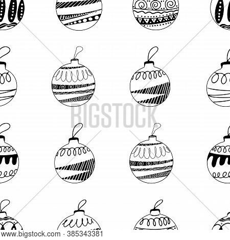 Seamless Pattern Made Frome Hand Drawn Christmas Tree Balls With Doodle Elements. Isolated On A Whit