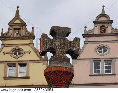 Oldest Market Cross In Germany, With Latin Dedication Placed By Archbishop In 958, Renovated 1724. G