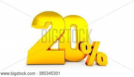 3d Render Of Twenty 20 Percent On White Background. 20% Percent