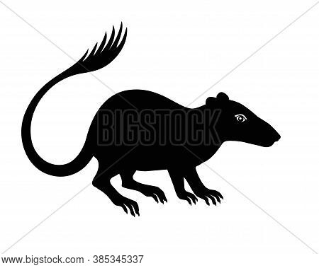Purgatorius - Extinct Prehistoric Primate - Ancestor Of Apes And Humans - Silhouette Stock Illustrat
