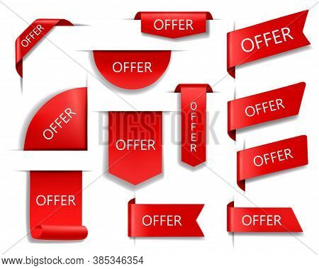 Offer Red Vector Banners, Ribbons And Labels. Isolated Internet Business Corners, Realistic Discount