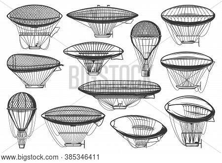 Dirigible Airships And Air Balloon, Aeronautics Zeppelin Aerotstats, Vector Icons. Vintage, Steampun