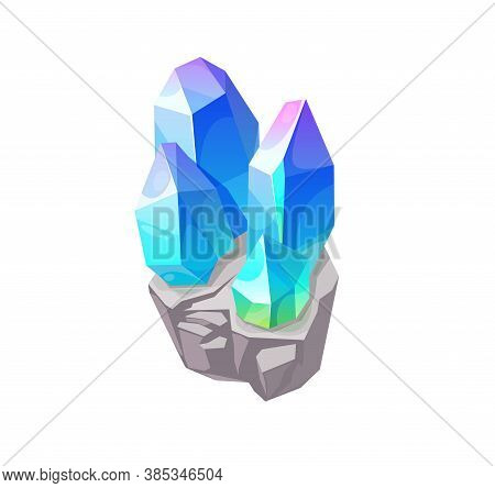 Blue Magic Crystal Gem, Vector Jewel Rock Mineral Stone. Isolated Natural Turquoise Gemstone Zircon,