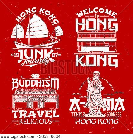 Hong Kong Vector Prints Junk Boat, Double Decker, Buddhist Temple And Goddess Of Sea Statue. Welcome