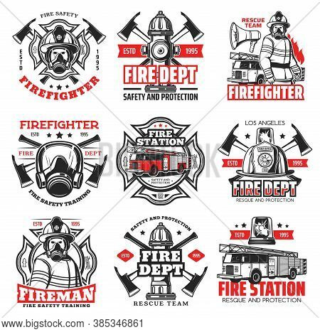 Fire And Firefighter Department Icons, Fireman Helmet And Axe Vector Badges. Fire Fighter Rescue Tea