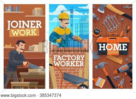 Working Builder And Joiner, Construction And Home Repair Tools Banners. Bricklayer Laying Bricks Wit