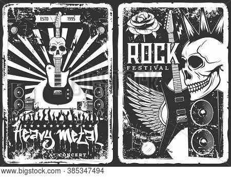 Rock Concert, Music Band Party Festival, Vector Grunge Vintage Poster With Skull Punk And Electric G