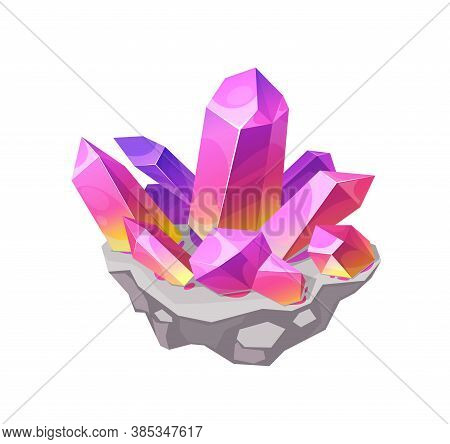 Pink Crystal Rock Gem, Isolated Vector Mineral Corundum, Morganite, Rubellite Or Kunzite Crystalline